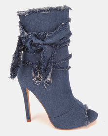Dolce Vita Houston Peep Toe Boots Dark Blue