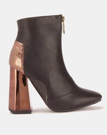 London Hub Fashion Ankle Boots Black