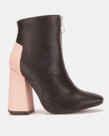 London Hub Fashion Ankle Boots Black/Pink