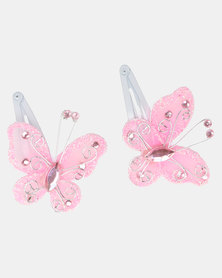 Jewels & Lace Butterfly Hairclips Pink