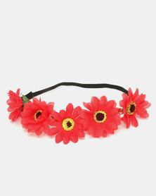 Jewels & Lace Flower Headband Red