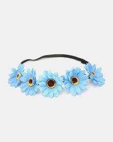 Jewels & Lace Flower Headband Blue