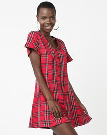 Daisy Street Cotton Dress Red Check