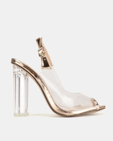 Dolce Vita Yves Clear Heels Rose Gold