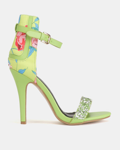 Dolce Vita Nolan-604 Floral Ankle Strap Heels Green