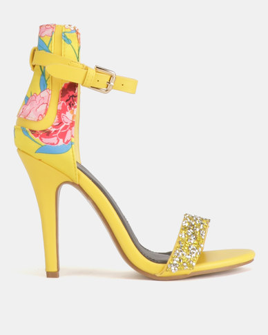1a869d7e5c4 Dolce Vita Nolan-604 Floral Ankle Strap Heels Yellow