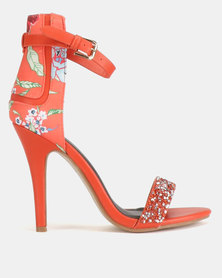 Dolce Vita Nolan-604 Floral Ankle Strap Heels Orange