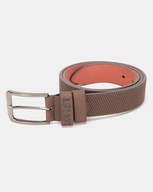 Soviet Agila Emboss Textured PU Belt Brown