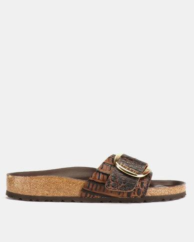 8aaf5a9ad2c7 Birkenstock Madrid Big Buckle Narrow Fit Embossed Leather Sandals Gator  Brown