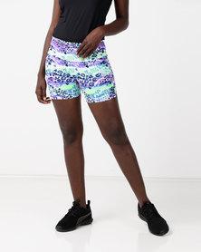 Bfit Active Wear Jungle Leopard Shorts Green/Purple