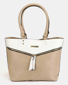 Blackcherry Bag Two Tone Tote Bag White And Tortilla