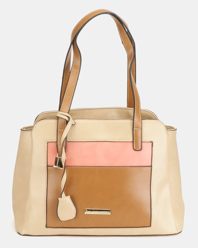 Blackcherry Bag 3 Tone Shoulder Bag Beige/Hazel/Coral