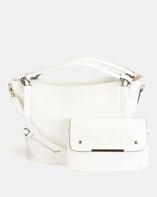 Blackcherry Bag 2 Piece Shoulder Bag and Crossbody Bag Set White