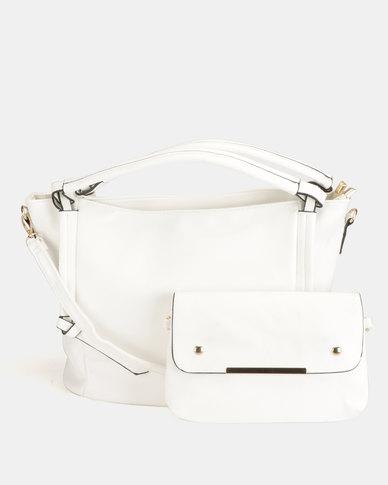 Blackcherry Bag 2 Piece Shoulder Bag and Crossbody Bag Set White