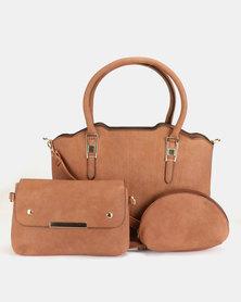 Blackcherry Bag 3 Piece Shoulder Bag Crossbody And Cosmetic Bag Set Choc-Brown