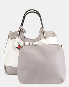 Blackcherry Bag 2 Piece Shoulder Bag and Crossbody Bag Set White And Grey