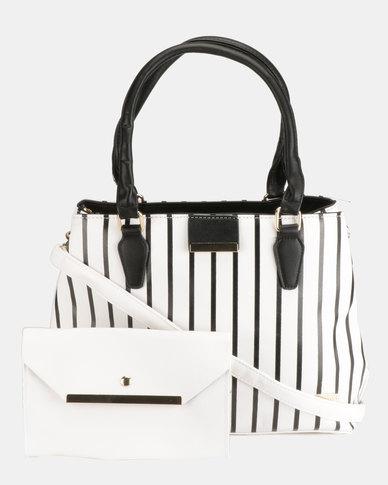 Blackcherry Bag Striped 2 Piece Shoulder and Crossbody Bag Set White/Black