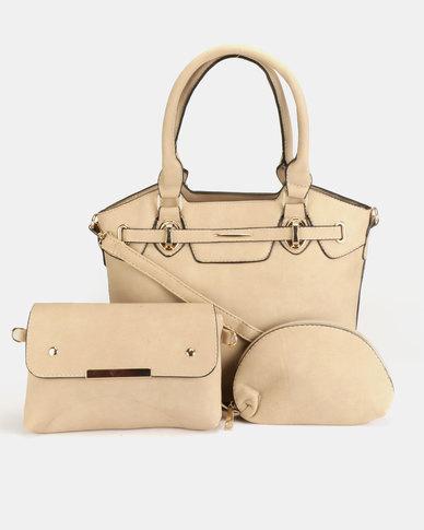 Blackcherry Bag 3 Piece Shoulder Crossbody And Cosmetic Bag Set Desert Sand