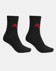 Soviet Rochester 2 Pack 3/4 Socks Black