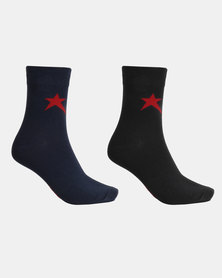 Soviet Rochester 2 Pack 3/4 Socks Navy/Black