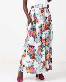 Utopia  Viscose Floral Maxi Skirt Brights Multi
