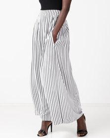 Utopia Viscose Maxi Skirt White/Black Stripe