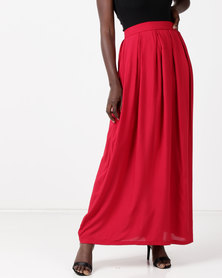 Utopia Viscose Maxi Skirt Red