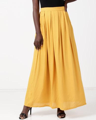 Utopia Viscose Maxi Skirt Mustard