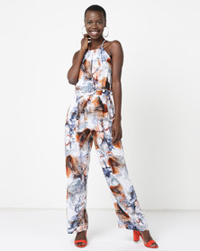 Utopia Viscose Jumpsuit  Blues Feather Print Multi