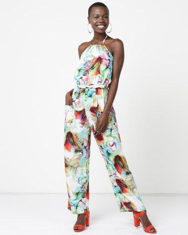 Utopia Viscose Jumpsuit Brights Feather Print Multi