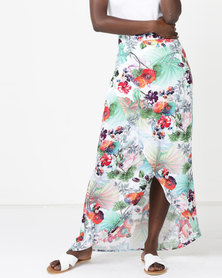 Utopia Floral Viscose Wrap Skirt Multi