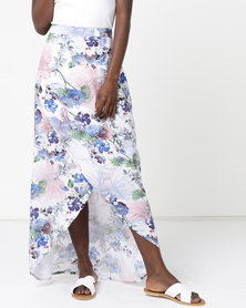 Utopia Floral Viscose Wrap Skirt Blue