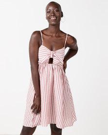 Utopia Stripe Tie Front Dress Red/White