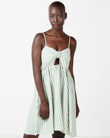 Utopia Stripe Tie Front Dress Green/White