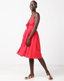 Utopia Tie Front Dress Red