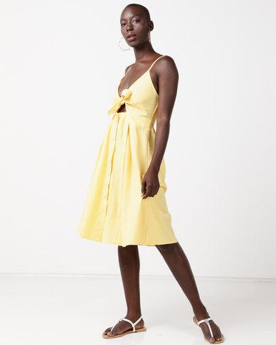Utopia Tie Front Dress Yellow