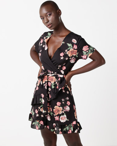 Utopia Floral Printed Wrap Dress Black