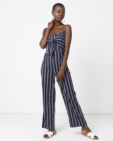 Utopia Tie Front Jumpsuit  Navy/White