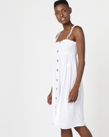 Utopia Button Through Dress White