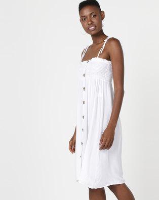 Utopia Button Through Dress White