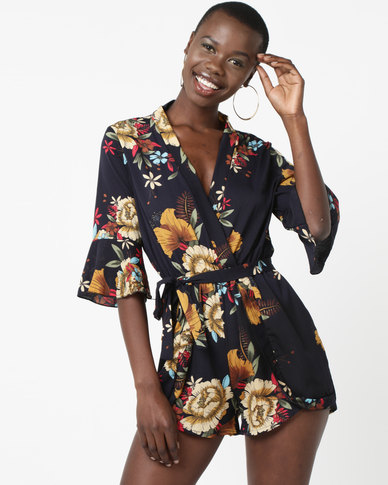 Utopia Viscose Playsuit Navy Floral