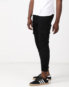 Utopia Cotton Cargo Joggers Black