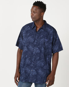 Jeep Spirit Short Sleeve Printed Shirt Navy