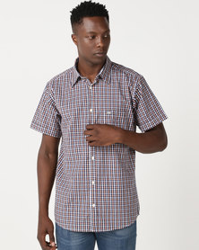 Jeep Spirit Short Sleeve Check Shirt Rust/Navy