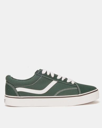 Soviet Mafadi Low Cut Canvas Two Tone Sneakers Dark Green