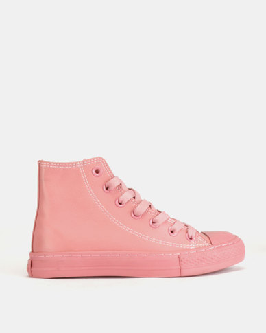 Soviet Viper PU Hi Top Lace Up Dusty Pink