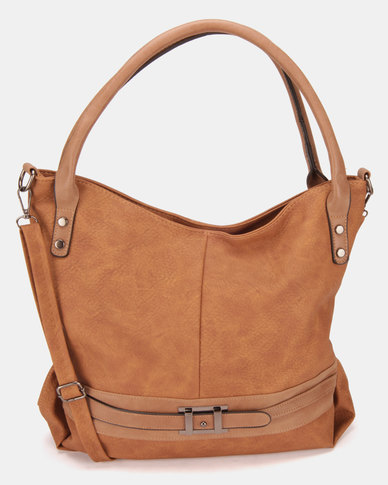 Utopia Buckle Trim Handbag Tan