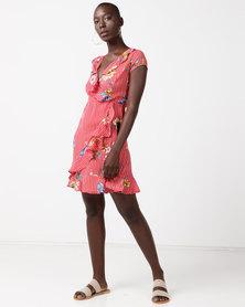 Revenge Stripe & Floral Detail Frill Dress Red