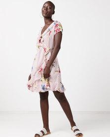 Revenge Stripe & Floral Detail Frill Dress White