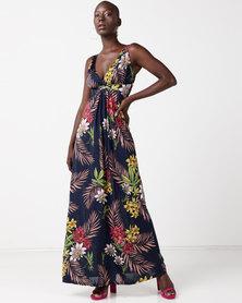 Revenge Floral Maxi Dress Navy